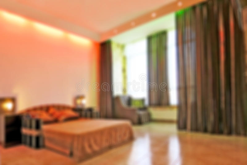 Abstract blurred image. Background interior residential rooms of the house inside with furniture. Bedroom.  stock images