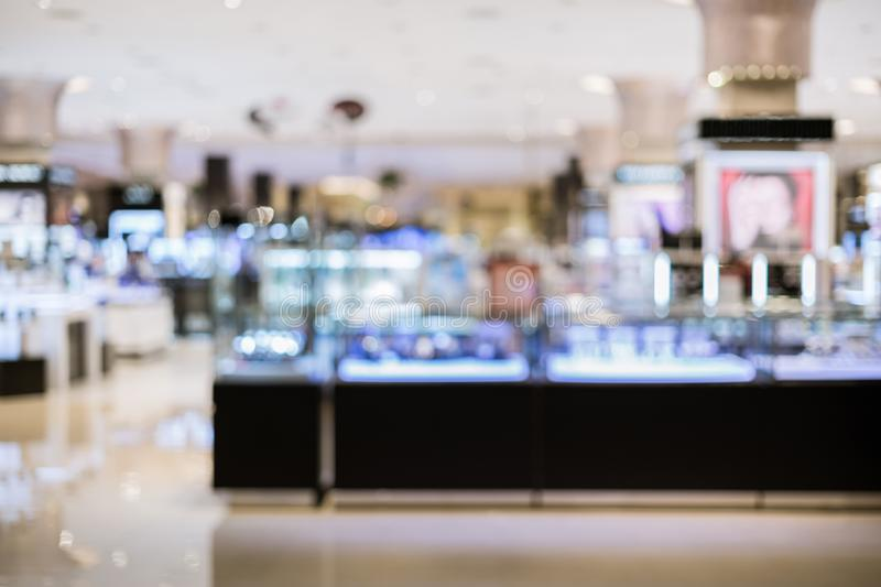 Abstract blurred image of cosmetics department stock photo