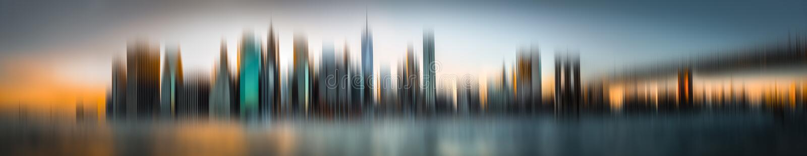Abstract blurred Manhattan skyline panorama stock photography
