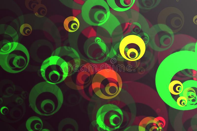Abstract blurred multi-colored background with bright colorful fractal pattern in the form of bubbles, fantasy circles vector illustration