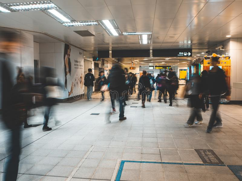 Abstract blurred people walking in Taipei MRT Rapid Transit Subway. royalty free stock images