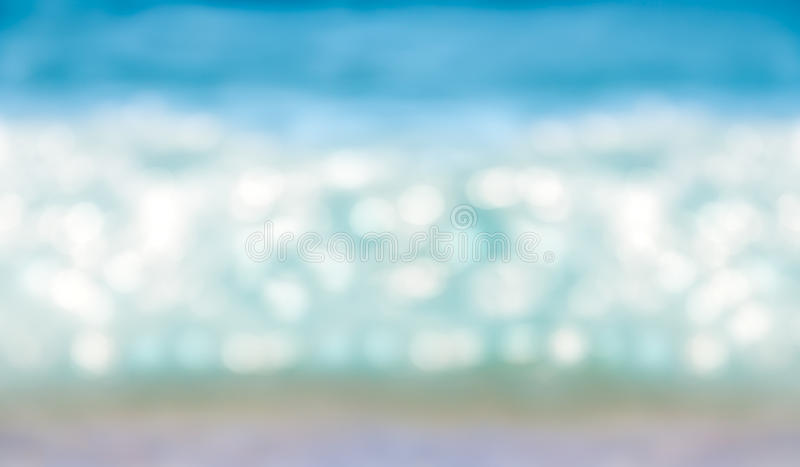 Abstract blurred shining sunlight bokeh on blue sea horizontal background. Abstract blurred shining sunlight bokeh on blue sea surf wave background royalty free stock image