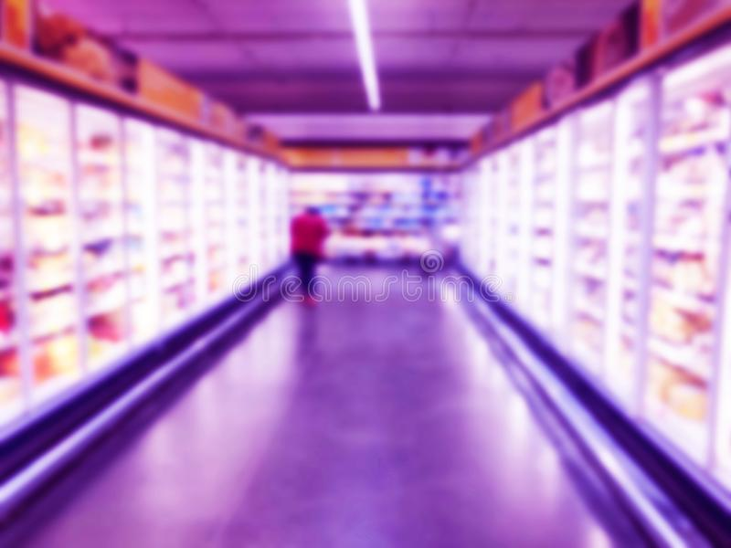 Abstract blurred supermarket store and refrigerators in department store. Interior shopping mall defocused background. Business fo. Od. Bokeh light background stock images