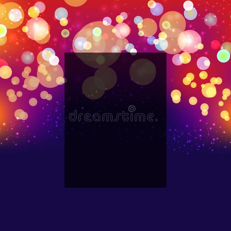 Abstract blurred vector background with light glare, bokeh and glowing particles. Lighting effects of flash. Abstract illustration. Vector illustration. EPS 10 vector illustration