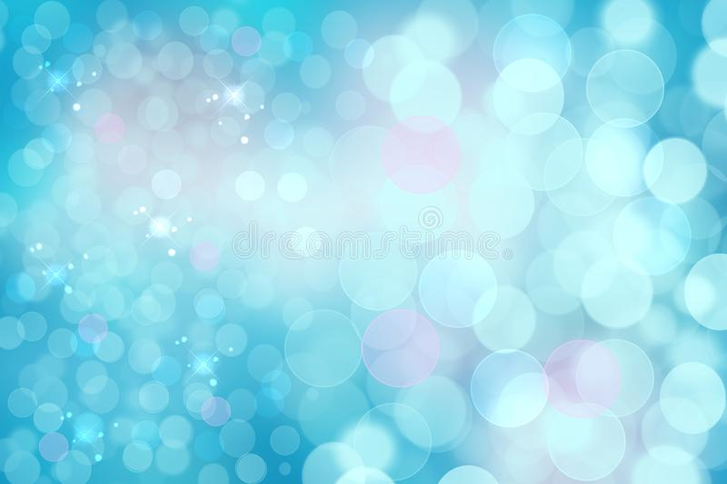 Abstract blurred vivid spring summer light delicate pastel blue pink bokeh background texture with bright soft color circles and. Glowing stars. Card concept royalty free illustration