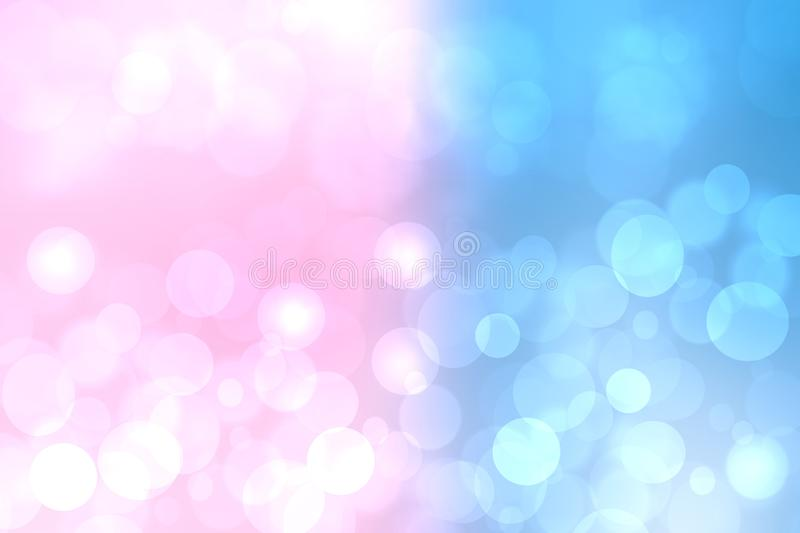 Abstract blurred vivid spring summer light delicate pastel pink blue bokeh background texture with bright soft color circles and. Bokeh lights. Card concept stock illustration