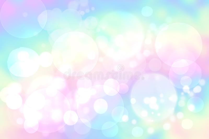 Abstract blurred vivid spring summer light delicate pastel pink blue bokeh background texture with bright soft color circles and. Bokeh lights. Card concept royalty free illustration