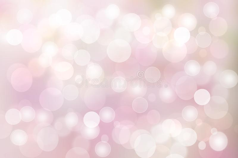 Abstract blurred vivid spring summer light delicate pastel pink bokeh background texture with bright soft color circles. Space for stock illustration