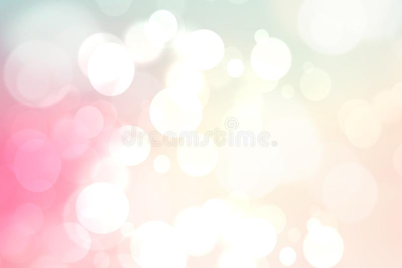 Abstract blurred vivid spring summer light delicate pastel pink bokeh background texture with bright soft color circles. Space for. Your text. Beautiful vector illustration
