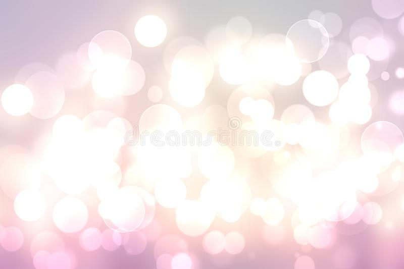 Abstract blurred vivid spring summer light delicate pastel pink white bokeh background texture with bright soft color circles and. Bokeh lights. Card concept vector illustration
