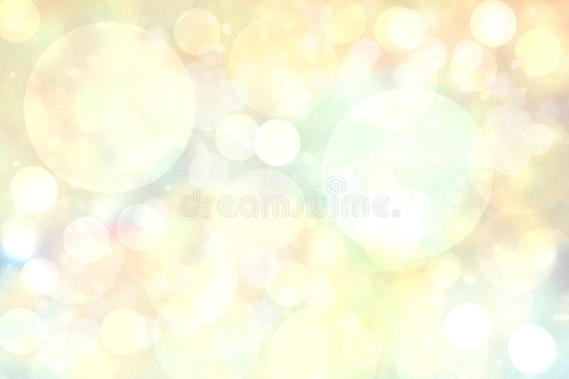Abstract blurred vivid spring summer light delicate pastel yellow bokeh background texture with bright soft color circles. Space. For your text. Beautiful royalty free illustration