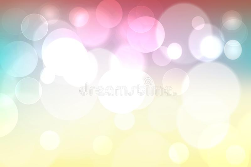 Abstract blurred vivid spring summer light delicate pastel yellow pink blue bokeh background texture with bright soft color. Circles and bokeh lights. Card stock illustration
