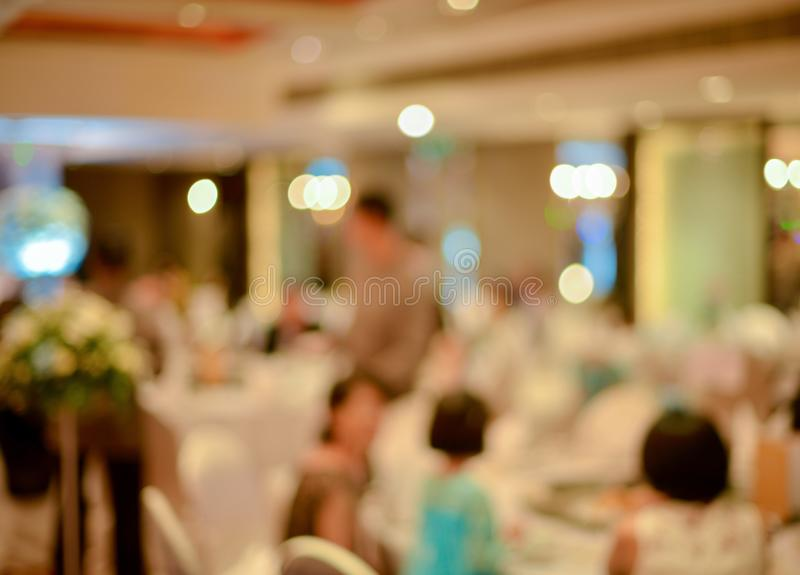 Abstract blurred of wedding ceremony in convention hall.  royalty free stock image