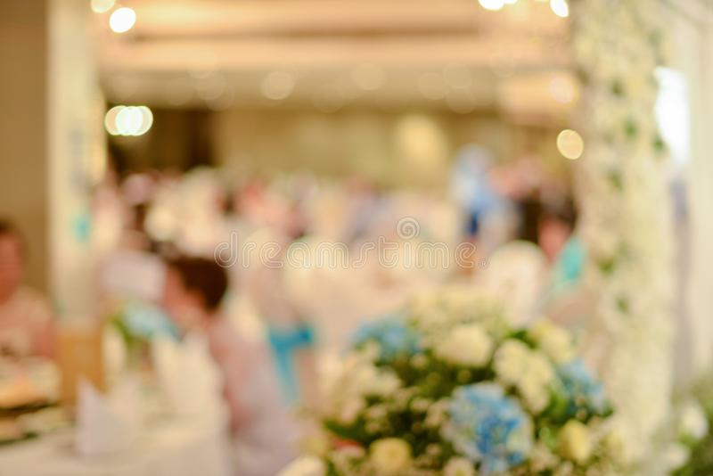 Abstract blurred of wedding ceremony in convention hall.  stock images