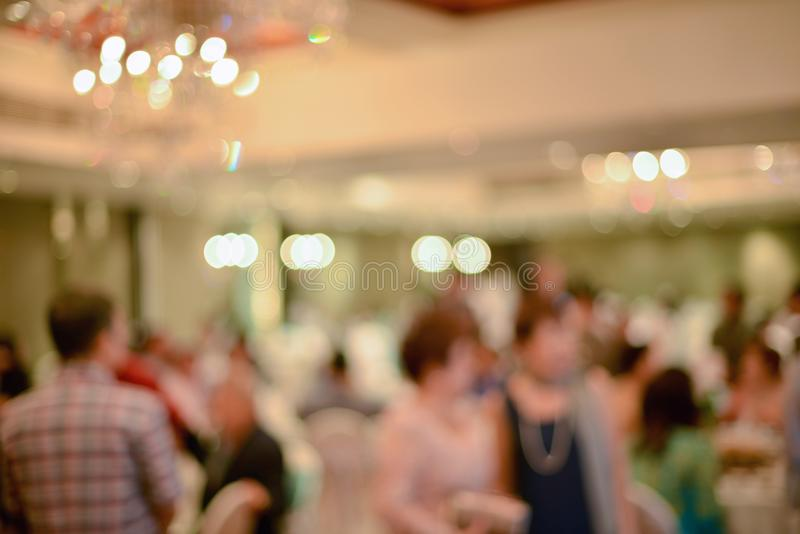 Abstract blurred of wedding ceremony in convention hall.  stock photo