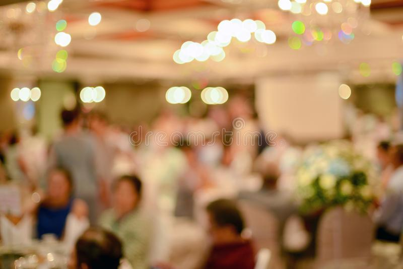 Abstract blurred of wedding ceremony in convention hall.  royalty free stock photography