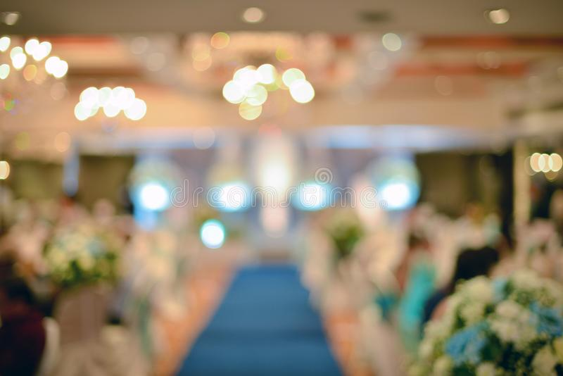 Abstract blurred of wedding ceremony in convention hall.  stock photography