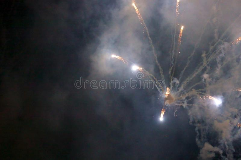 Abstract blurry background fireworks International festival show  2019 at Pattaya Thailand.  royalty free stock photo