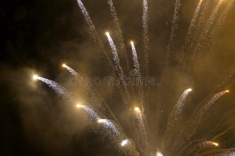 Abstract blurry background fireworks International festival show  2019 at Pattaya Thailand.  royalty free stock images