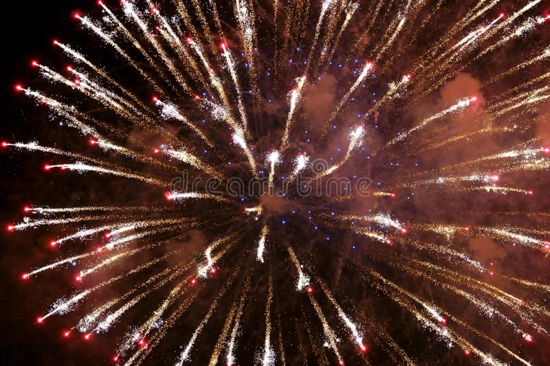 Abstract blurry background fireworks International festival show  2019 at Pattaya Thailand.  stock image