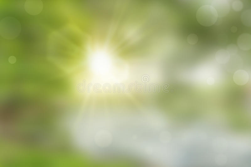 Abstract blurry green background. With brightly sun star flare stock image