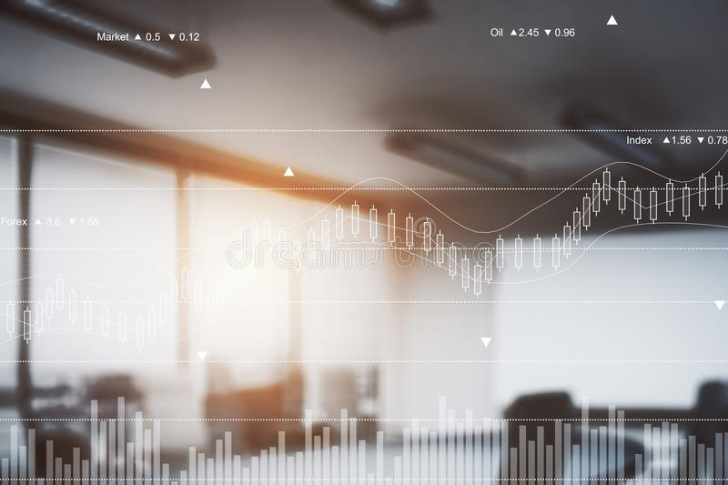 Trade concept. Abstract blurry office interior with forex chart. Trade concept. Double exposure. Toned image vector illustration