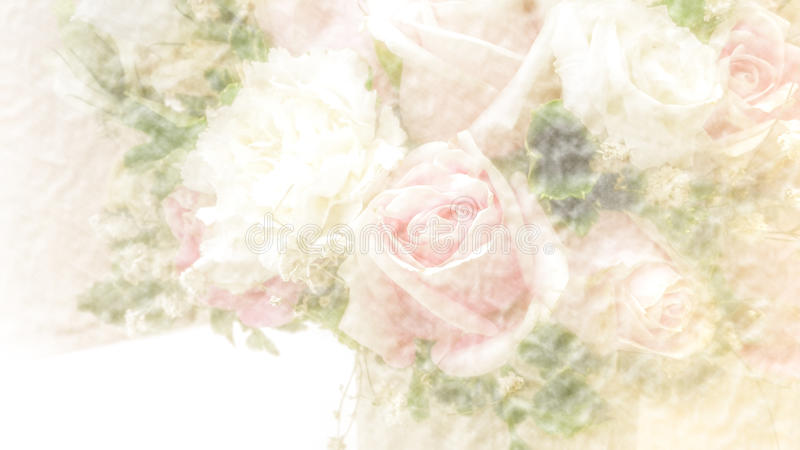 Abstract blurry paper texture background with rose bouquet. Warm tone stock photo