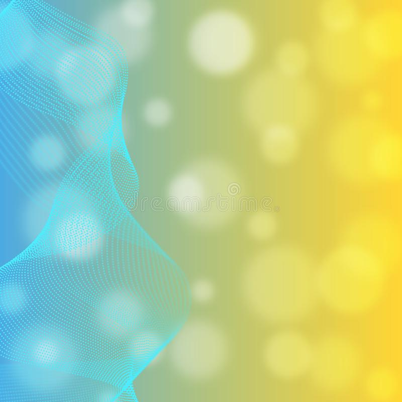 Abstract Shiny Cyan Curves in Blurred Blue and Yellow Gradient Background vector illustration