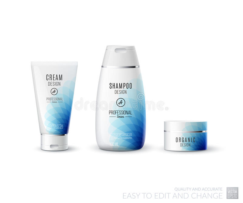 Abstract body care cosmetic brand concept. Tube cream, shampoo p. Ackaging. Realistic vector identity set template in blue tones for beauty, medicine, healthcare royalty free illustration