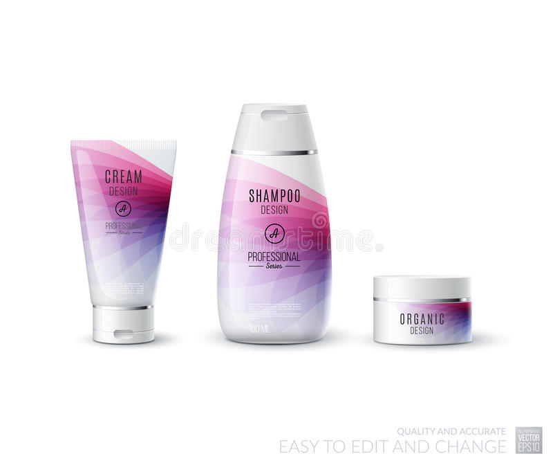 Abstract body care cosmetic brand concept. Tube cream, shampoo p royalty free illustration
