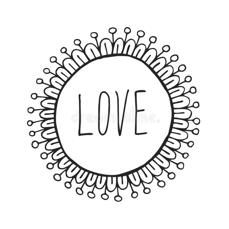 Abstract Boho Style Hand Drawn Decorative Round Vector Frame Stock ...