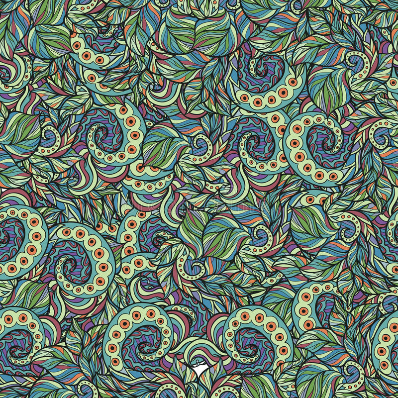 Abstract Boho Vintage Doodle Pattern Stock Illustration