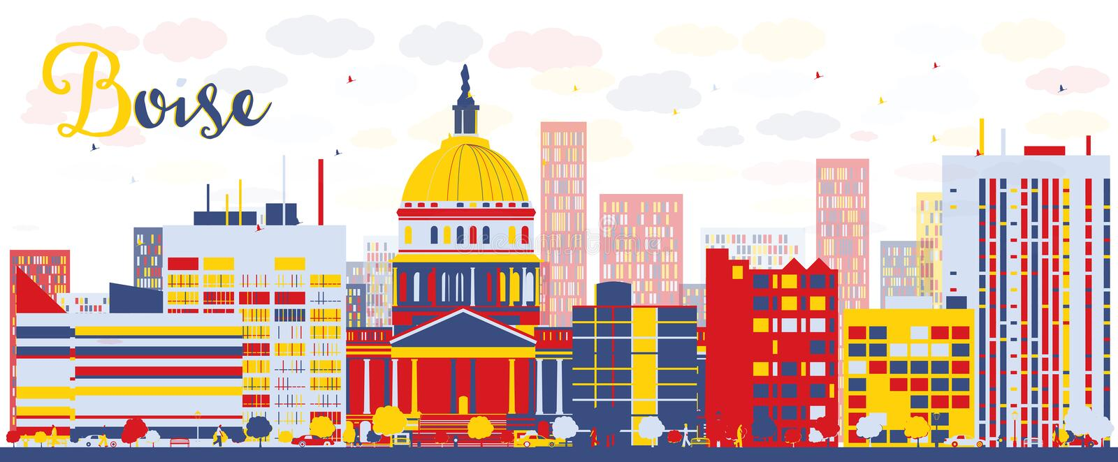 Abstract Boise Skyline with color Buildings royalty free illustration