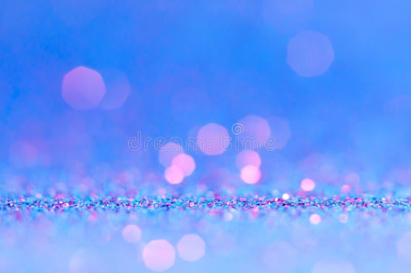 Abstract bokeh blue,ultra violet,purple,pink,color with light background.Blue night light elegance,smooth sparkling glittering bac. Kdrop,artwork design for stock image