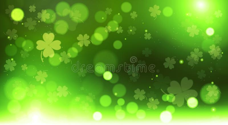 Abstract Bokeh Blur Template Clovers Background, Green Happy Saint Patrick Day Concept. Vector Illustration stock illustration