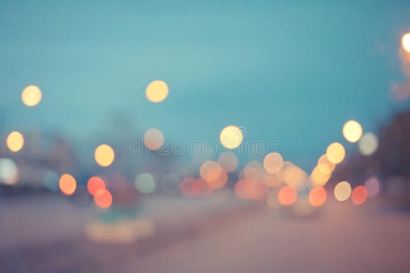 Abstract bokeh from car light on the traffic road,vintage filter stock photography
