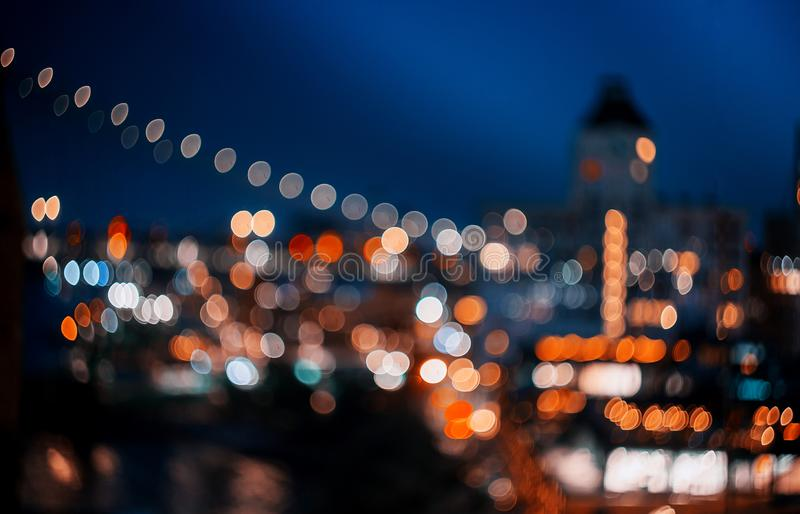 Abstract bokeh city light at night skyline of downtown New York Manhattan. Skyline of downtown New York Manhattan abstract blurred lights bokeh city light at stock image