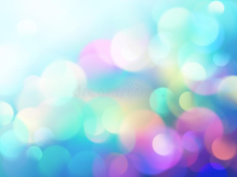Abstract bokeh lights background, pastel wallpaper, vivid colorful neon texture stock illustration