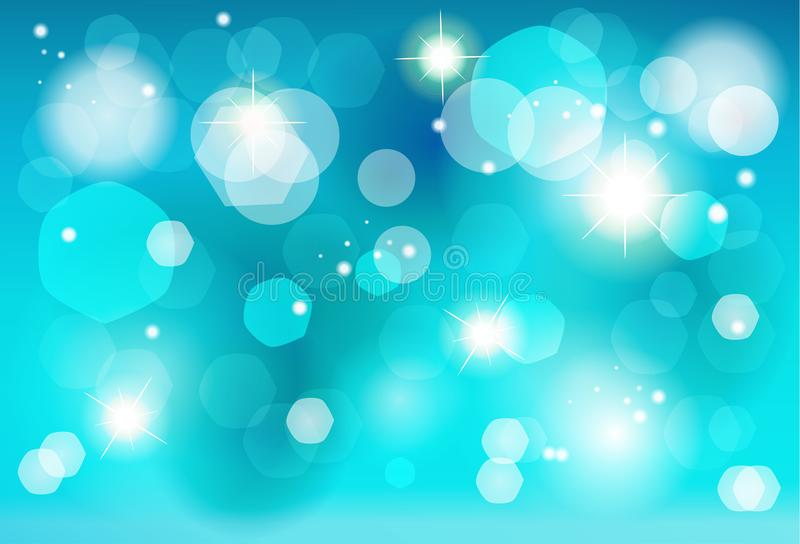 Christmas blue bokeh lights effect wallpaper royalty free illustration