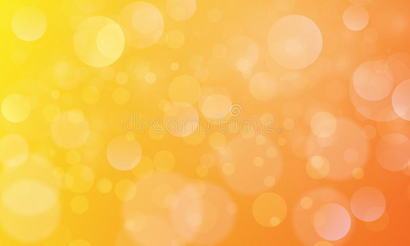 Abstract bokeh lights effect with yellow orange background, bokeh texture, bokeh background, vector illustration stock illustration