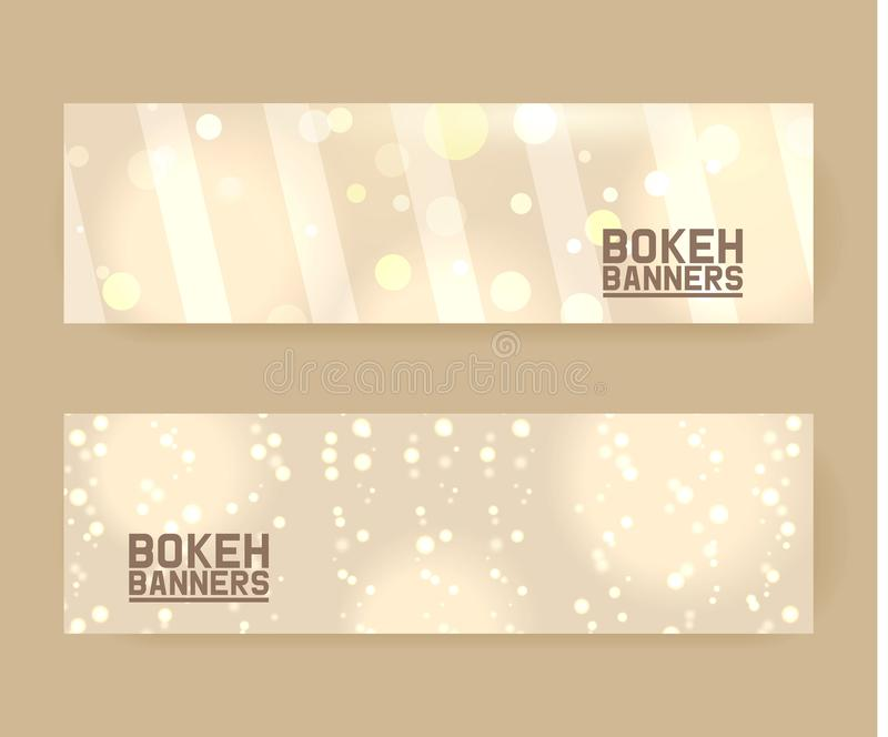 Abstract bokeh lights with soft light background set of banners vector illustration. Golden sparkles, shiny defocused royalty free illustration