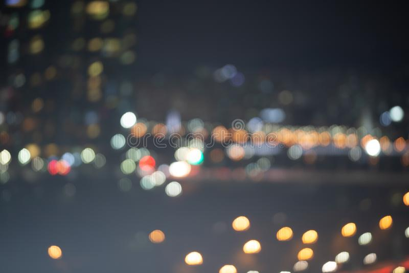 Abstract bokeh night garden in city background royalty free stock photos