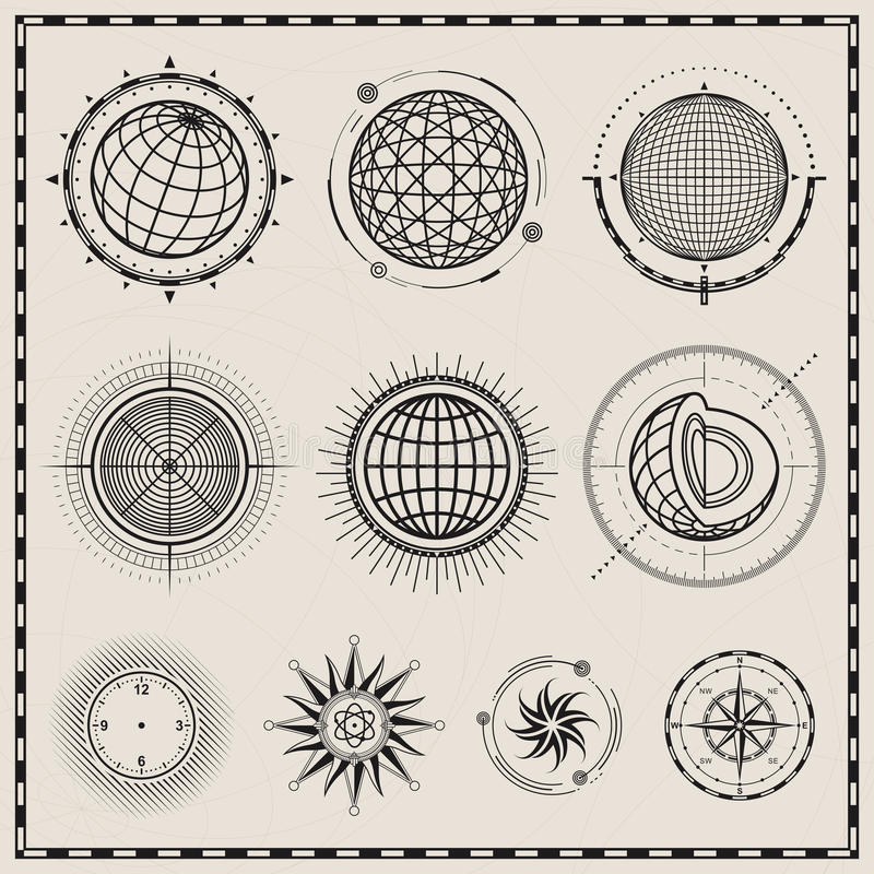 Abstract Bol en Kompassymbool stock illustratie