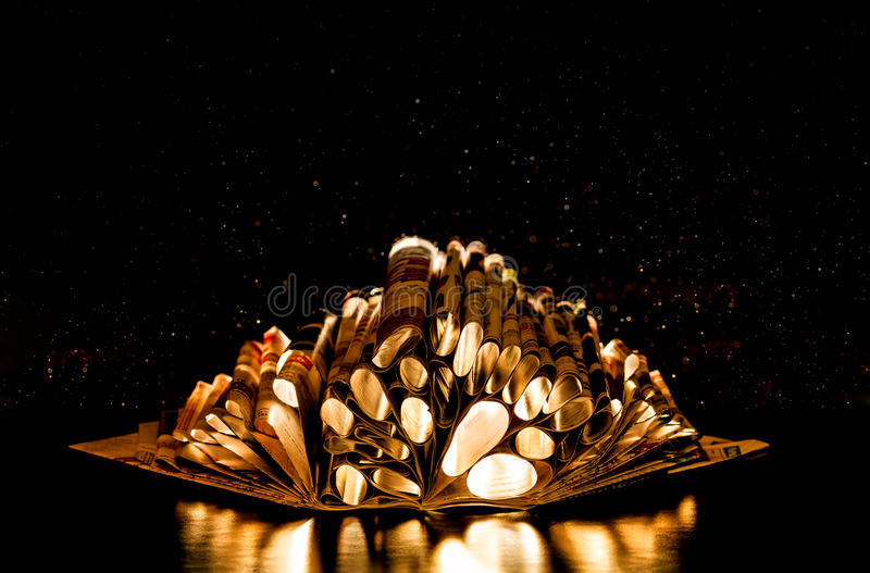 Abstract book. Abstract image of the book on a black background. Abstract book stock photography