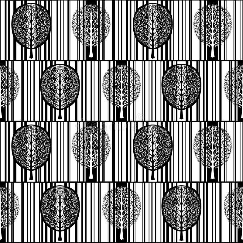 Abstract boom naadloos patroon, gestileerde zwart-witte bos, uitstekende vector zwart-wit tekening Overladen boom met takken en stock illustratie