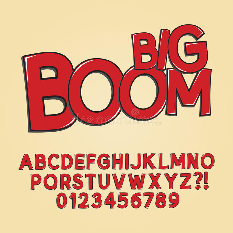 Abstract Boom Pop Art Font and Numbers royalty free stock photography