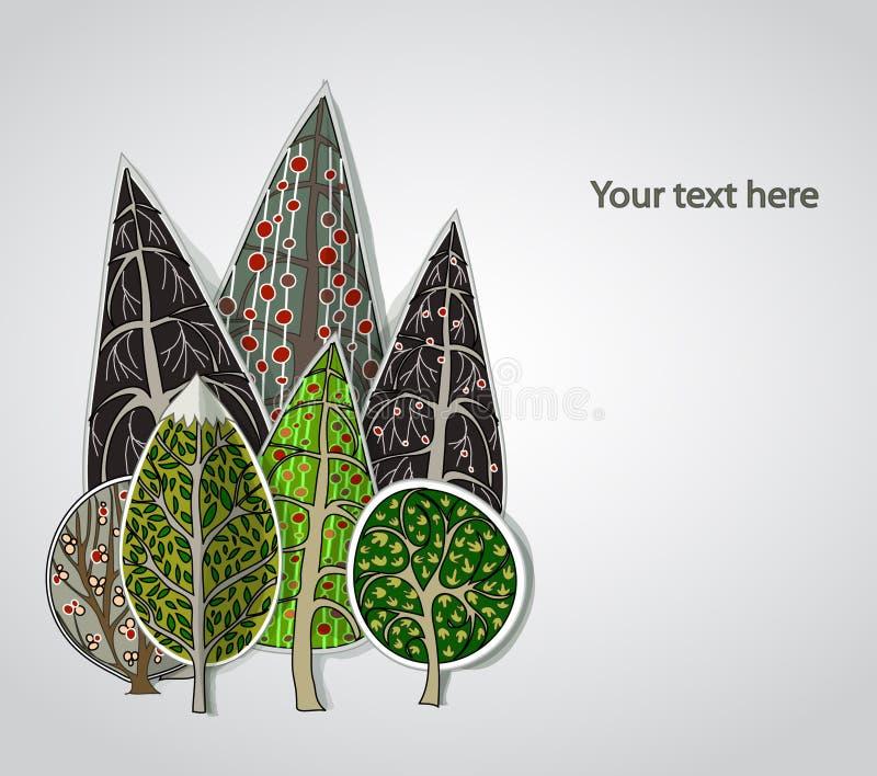 Abstract bos, reeks royalty-vrije illustratie