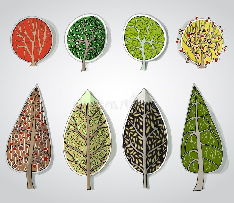 Abstract bos, reeks stock illustratie