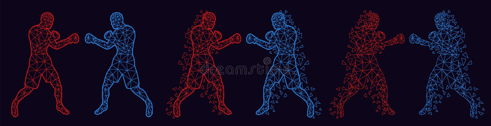 Abstract boxers fighting against each other. Vector illustration low poly stock image