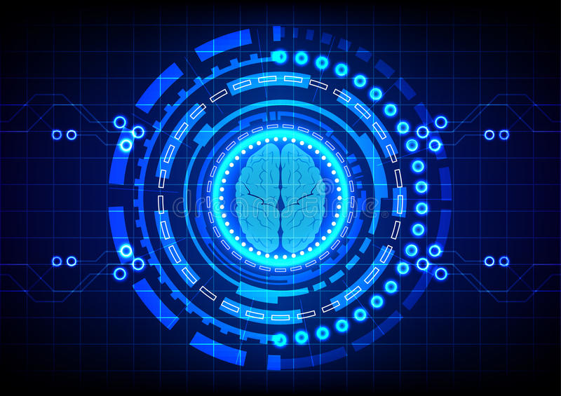 Abstract brain with circle technology concept design background. Illustration vector illustration